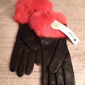 Black Leather Gloves with Hot Pink Rabbit Fur